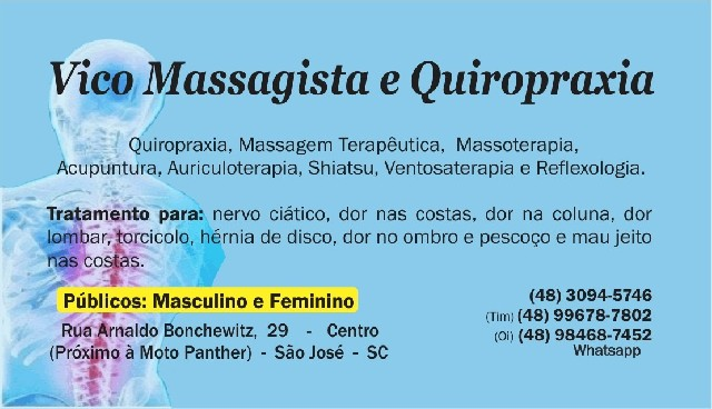 Vico massagista e quiropraxia - massagem